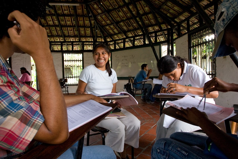 Students at the University Center for Rural Well-being in Jamundi-Robles, Colombia