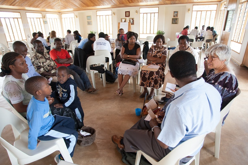 A cluster reflection meeting at the Baha'i centre in Lilongwe, Malawi.