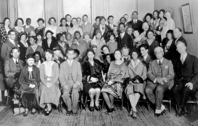 "In the 1920s and 1930s, the Bahá'í community of the United States sponsored a series of ""race amity"" conferences and meetings, like this one held by the New York Bahá'í Assembly and the New York Urban League in New York City in 1930"