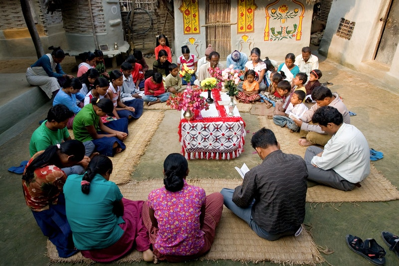 A devotional gathering in Morang-Sunsari, Nepal