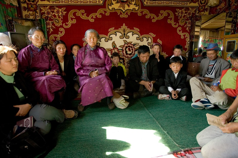 A devotional gathering in Erdenbulgan, Mongolia