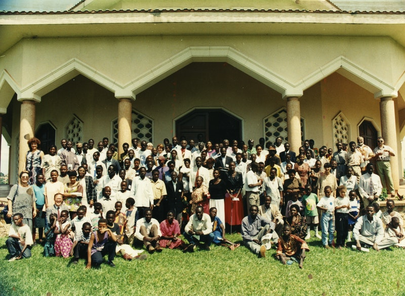 Participants of the National Convention in Kampala, Uganda, on the steps of the