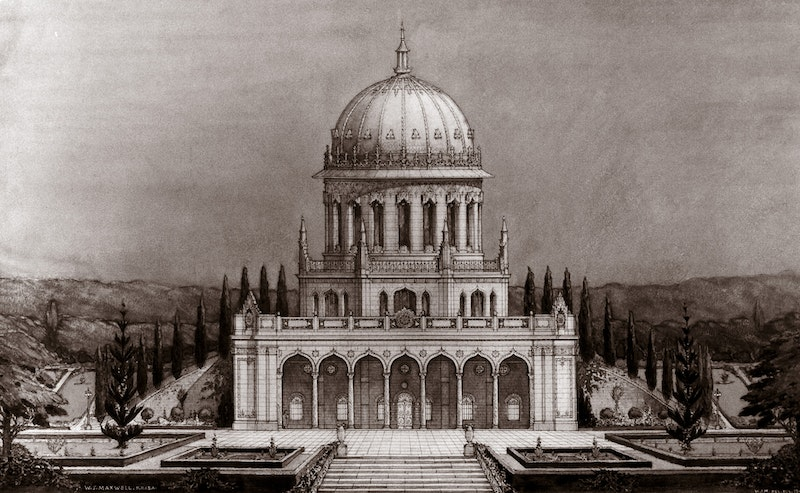 Drawing by William Sutherland Maxwell of the Shrine of the Báb with the