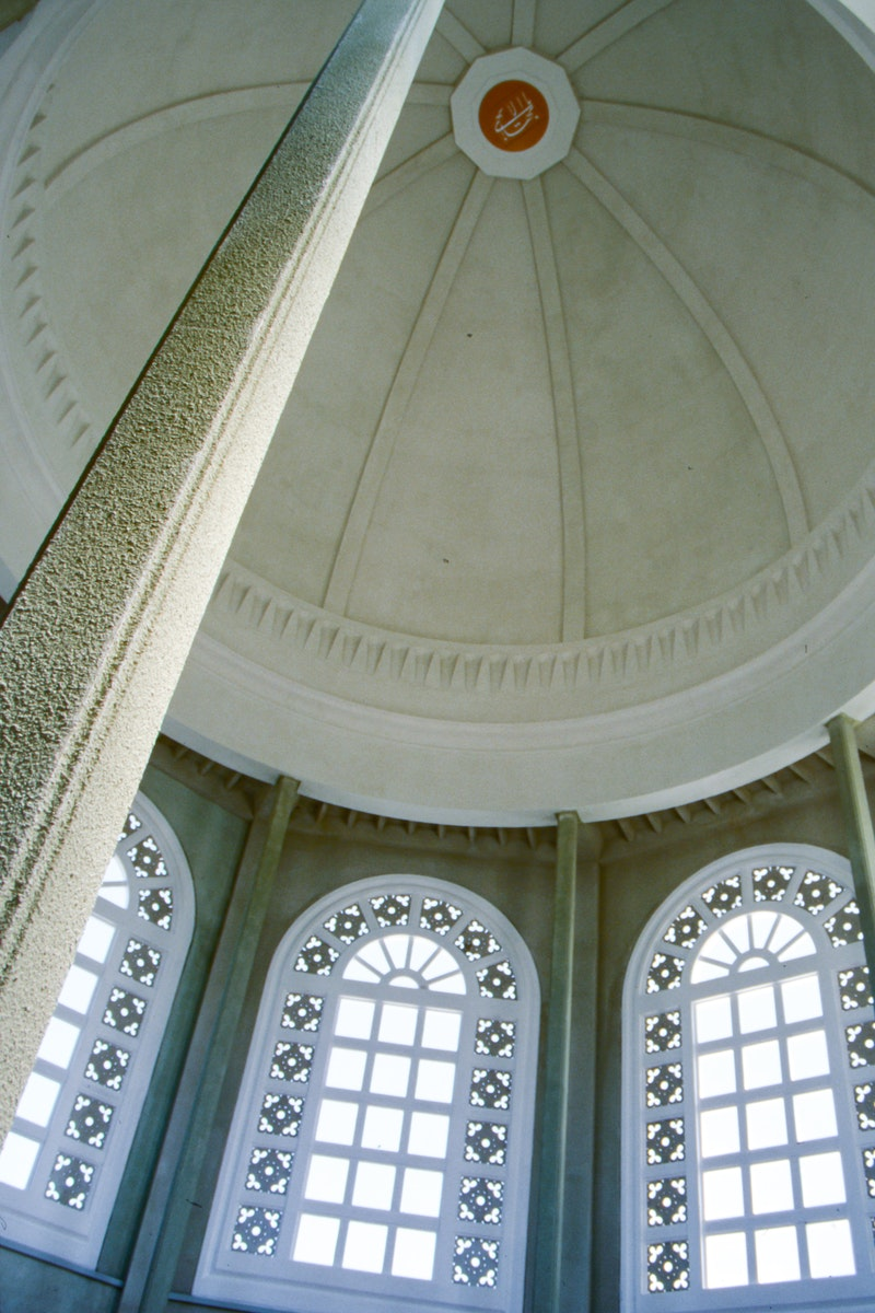 View of the interior of the dome of the Continental Bahá'í House of Worship of