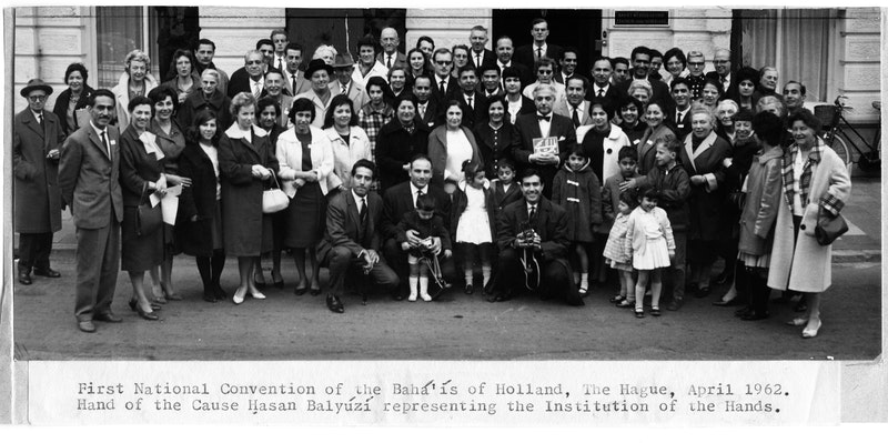 Participants of the first National Convention of Holland, with Hand of the Cause Hasan Balyúzí, April 1962
