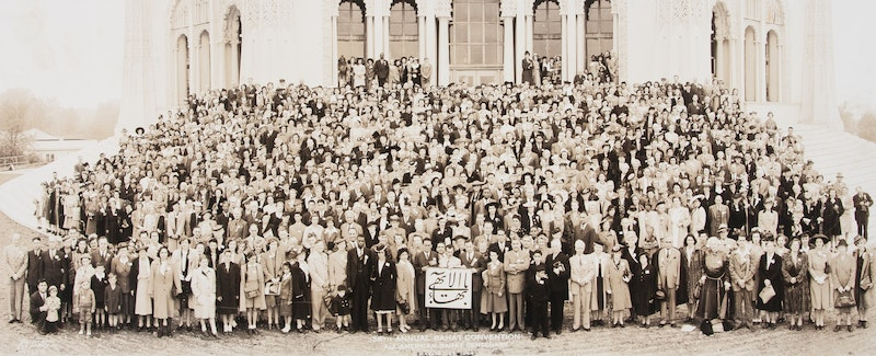 Participants of the National Convention in Wilmette, United States on the steps of