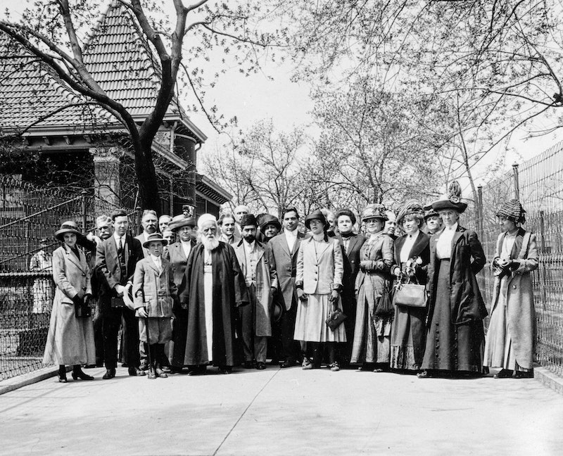 'Abdu'l-Bahá with a group of friends at Lincoln Park, Chicago, Illinois, 3 May