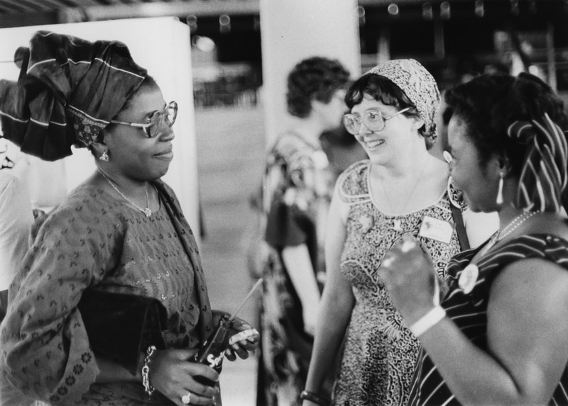 A group of Bahá'ís at the International Teaching Conference, Lagos, Nigeria, August