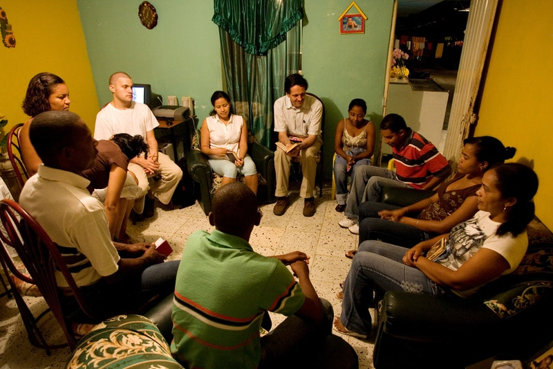A devotional gathering in Puerto Tejada, Colombia