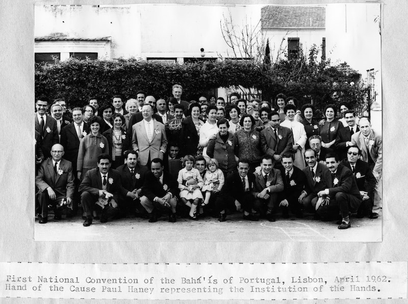 Participants of the first National Convention in Lisbon, Portugal, with Hand of the Cause Paul Haney, April 1962