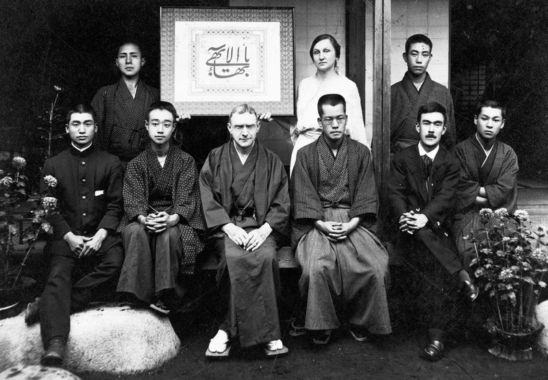 Hand of the Cause Agnes Alexander with a group of Bahá'ís in Tokyo, Japan, August