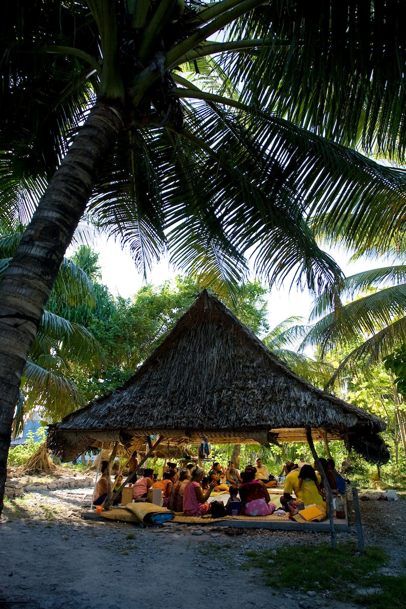 A community gathering in South Tarawa, Kiribati.