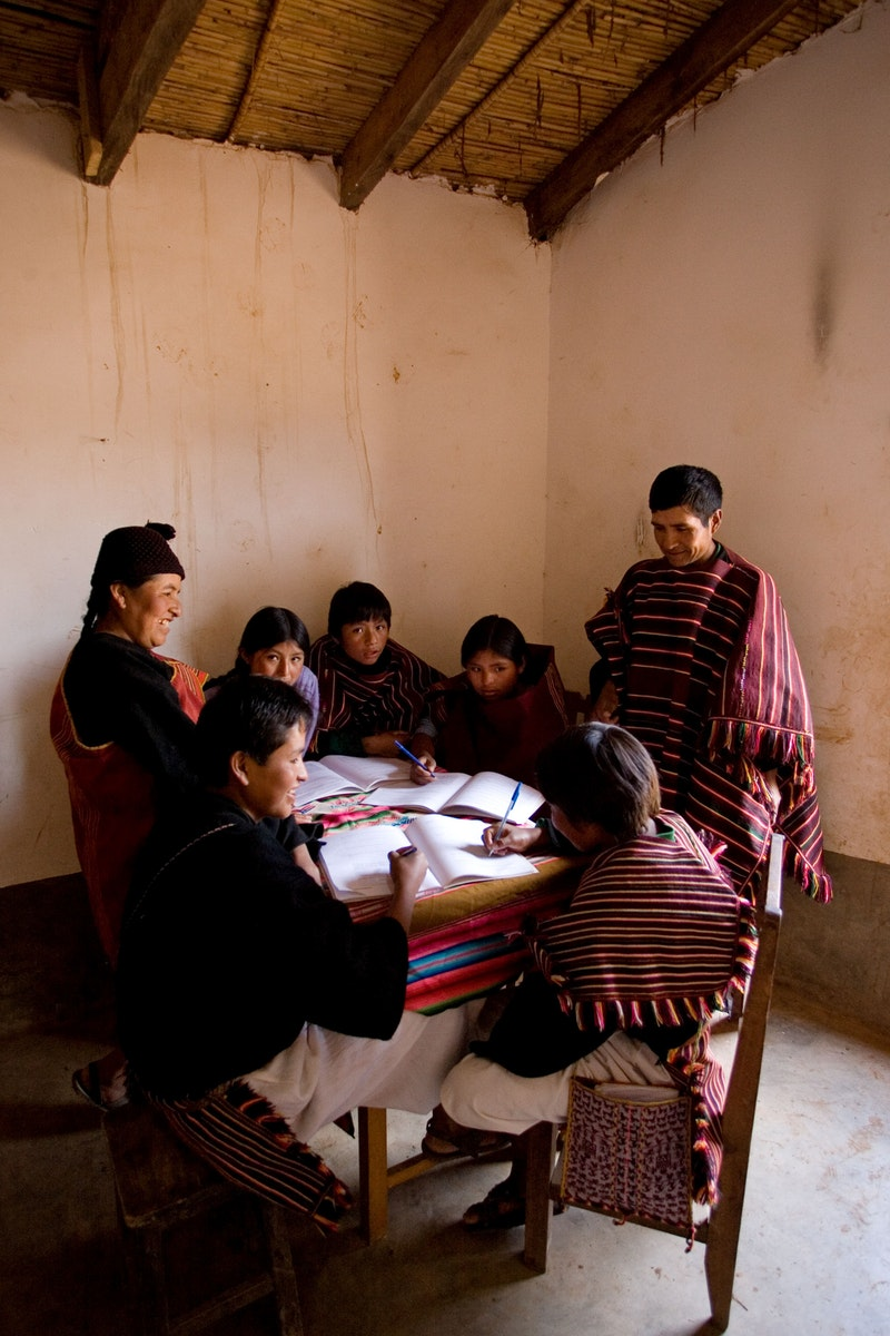 A group studying the spiritual empowerment of junior youth in Tarabuco,
