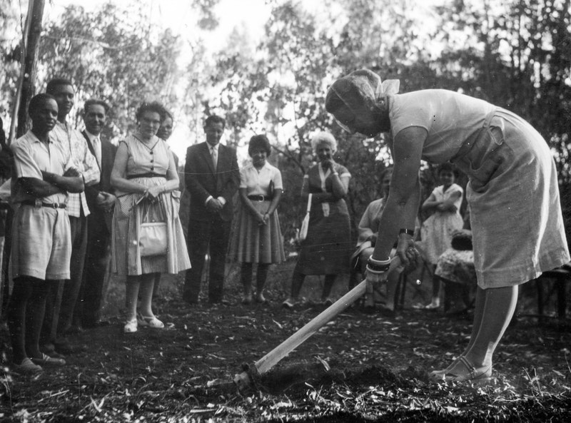 Hand of the Cause Amatu'l-Bahá Rúhíyyih Khánum performing the groundbreaking