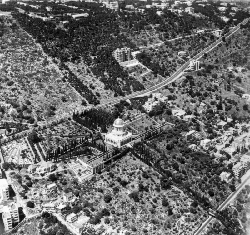 Aerial view of the Shrine of the Báb and surrounding gardens, 1954