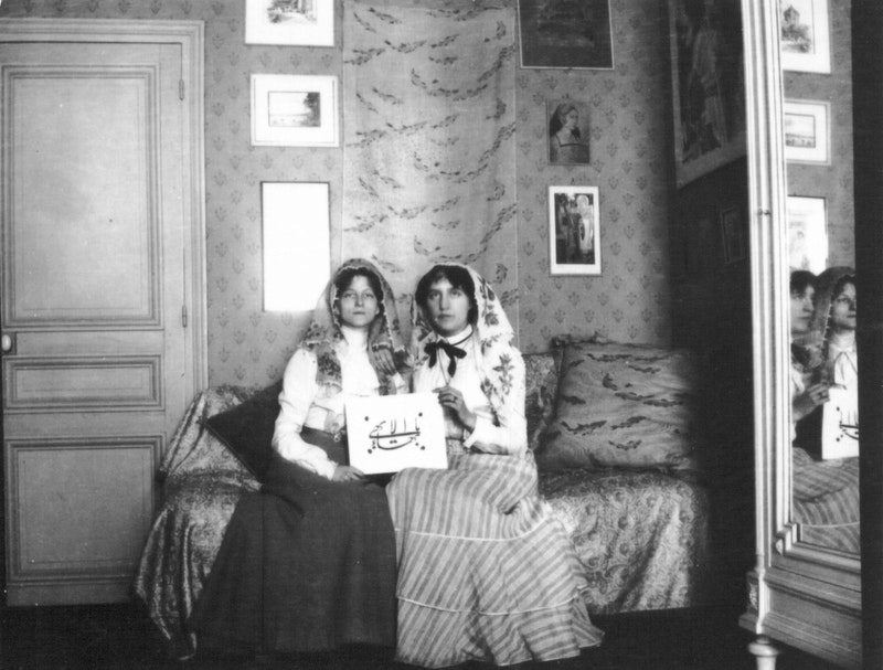 One of the first two Baha'is in Switzerland, Edith McKay (later Edith de Bons), right, with May Bolles (later May Maxwell), who introduced her to the Bahá'í Faith in Paris in 1900.