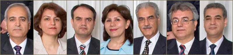 The seven imprisoned Baha'i leaders whose trial began on 12 January 2010 are, from left, Behrouz Tavakkoli, Fariba Kamalabadi, Vahid Tizfahm, Mahvash Sabet; Jamaloddin Khanjani, Saeid Rezaie, and Afif Naeimi.
