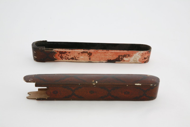 Decorated pen case and pen case insert belonging to Bahá'u'lláh