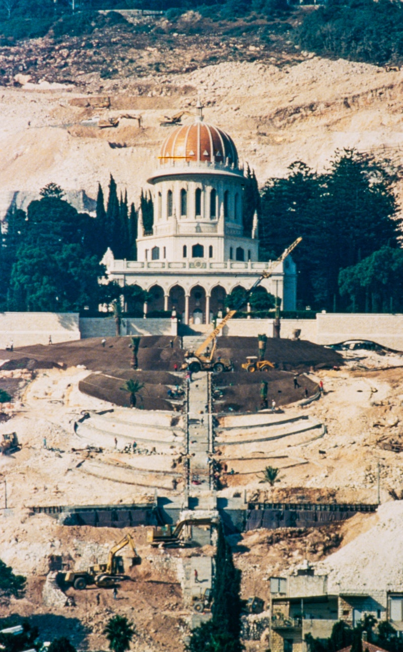 Construction of the Terraces of the Shrine of the Báb 1991
