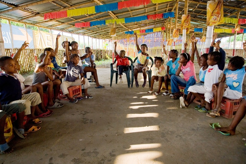 A children's class in Norte del Cauca, Colombia