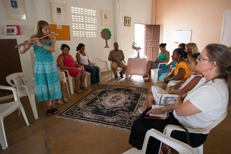A devotional meeting at the Baha'i centre in Lauro de Freitas, Brazil, north of