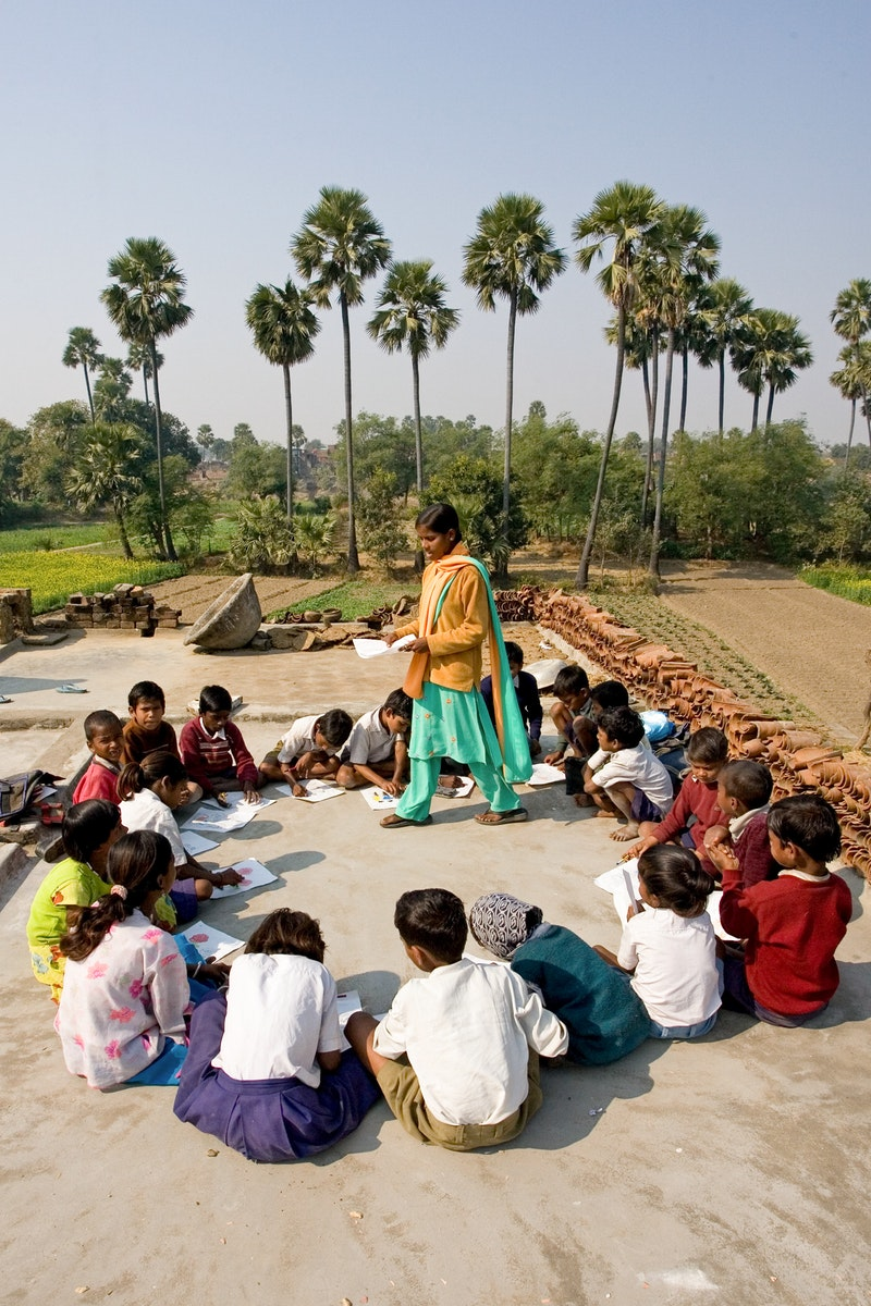 A children's class in Biharsharif, India