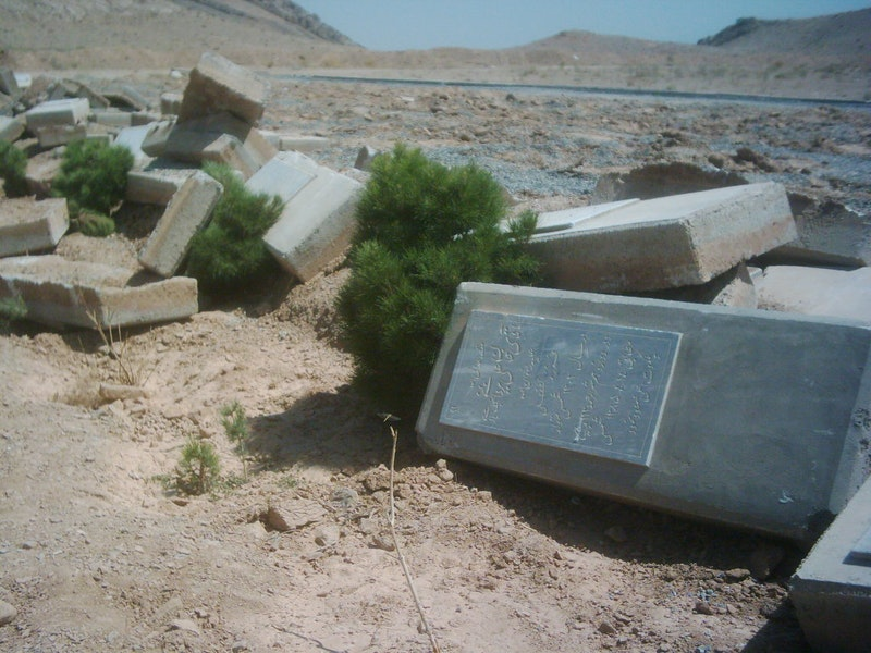 Baha'i cemeteries have been desecrated or destroyed in a number of cities and towns. These tombstones in the Baha'i cemetery near Najafabad were left in a heap when the entire burial ground was bulldozed.