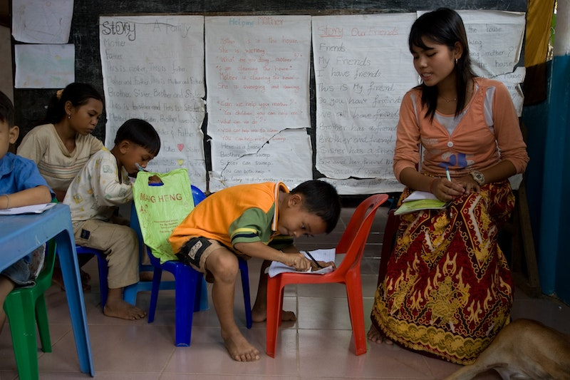 A class for children at a CORDE Center of Learning established by Cambodian