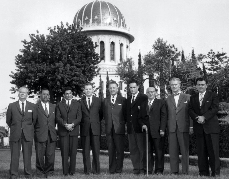 Members of the first Universal House of Justice, elected in 1963.