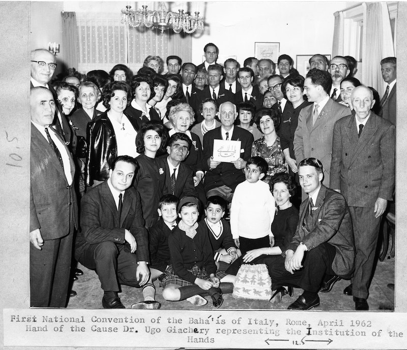 Participants of the first National Convention in Rome, Italy, with Hand of the Cause Ugo Giachery, April 1962