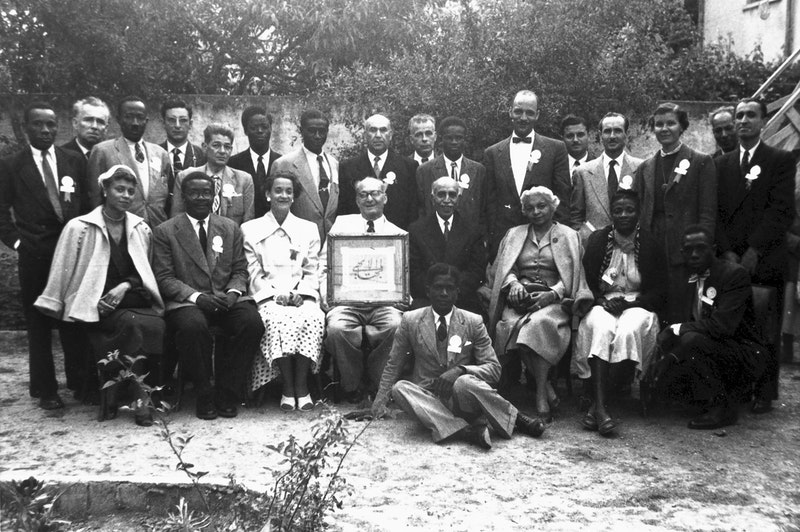 Participants of the first National Convention of North West Africa, with Hands of the Cause Músá Banání and Enoch Olinga, April 1956