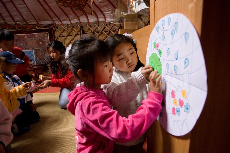 A children's class in Ulaanbaatar, Mongolia