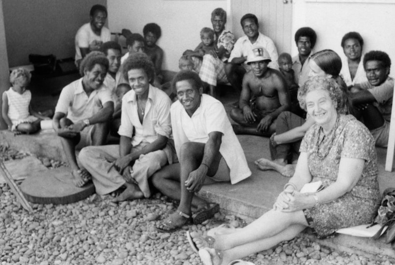 The Baha'is of Ngalibui with Gertrude Blum (at front, right) and Barbara Hunt (partly obscured), 1977.